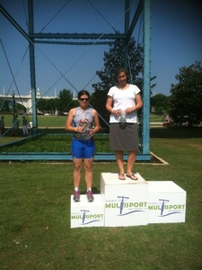 Emily Marsh on the podium at the Scenic City Triathlon! Woohoo!