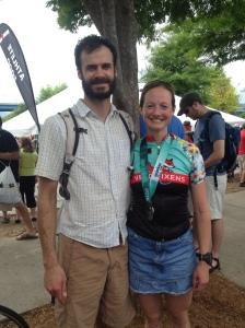Cortney with boyfriend Corbin after finish.