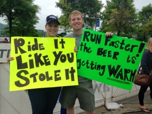Vixen Valerie and husband supporting friends on run course